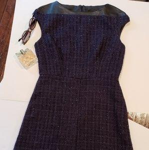 Navy metallic tweed boucle classic sheath dress